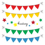 Set of multi colored flat buntings garlands, triangle flags. Celebration decor for greeting cards. In primary colors Stock Photography