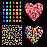 A set of multi-colored gems. Contains precious stones of different shapes, a seamless pattern and hearts of diamonds. Vector.. A set of multi-colored gems royalty free illustration