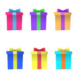 Set of multi-colored gift boxes. Vector Royalty Free Stock Photos