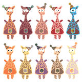 A set of multi-colored giraffes in retro style. Royalty Free Stock Images