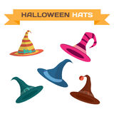 Set of multi-colored hats for Halloween. Vector flat cartoon illustration  on a white background Royalty Free Stock Photo