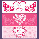 Set cards of hearts, flowers, butterflies Royalty Free Stock Photos