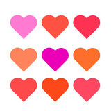 Set multi colored hearts  Royalty Free Stock Image