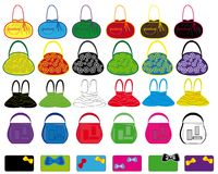 Set of multi-colored ladies' handbags. Stock Image
