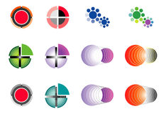 Set 12 multi-colored logos on the basis of a circle. Stock Photos