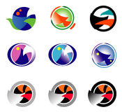 Set 9 multi-colored logos on the basis of a circle. Royalty Free Stock Images