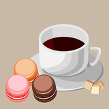 Set. Multi-colored macaroons and white cup. Stock Photography