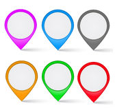 Set of multi-colored the map markers Stock Photos