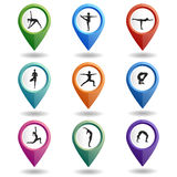Set of  multi-colored map pointers with a people in yoga poses. Stock Photo