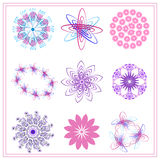 Set of multi colored ornaments circle, oval Royalty Free Stock Photos