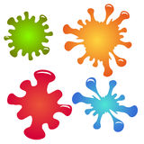 Set of multi-colored paint splashes and drops. royalty free illustration