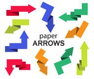 Set of multi-colored paper arrows Royalty Free Stock Photo