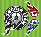 Set of multi-colored patterns for team sports with soccer flying ball Royalty Free Stock Images