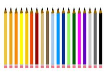 Set of multi colored pencils Royalty Free Stock Image