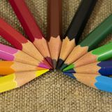 A set of multi-colored pencils designed for children`s creativity. stock photography