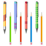 Set of multi-colored pens and pencils Stock Photos