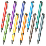 Set of multi-colored pens Royalty Free Stock Photography