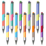 Set of multi-colored pens Royalty Free Stock Photos