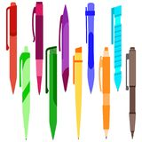 Set of multi-colored pens on a white background Royalty Free Stock Photography