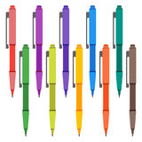 Set of multi-colored pens on a white background. Royalty Free Stock Photography