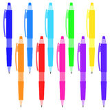 Set of multi-colored pens on a white background. Stock Image