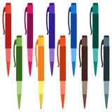 Set of multi-colored pens on a white background. Royalty Free Stock Image