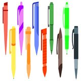 Set of multi-colored pens on. A white background. Vector illustration Stock Images