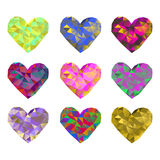 A set of 9 multi-colored polygonal hearts. Vector illustration on isolated background Stock Photo