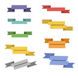 A set of multi-colored retro flat ribbons Stock Photos