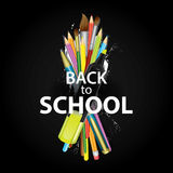 A set of multi-colored school supplies. Ready design `Back to school.` Vector illustration with pencils, pen and brushes for drawi Stock Image