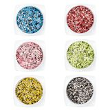 Set multi-colored Sequins for design of nails in box. Glitter in jars. Foil for nail service. Sparkling beauty shimmer, glitter. Set multi-colored Sequins for Stock Photo
