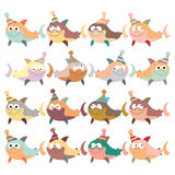 A set of multi-colored sharks in retro style. Royalty Free Stock Image