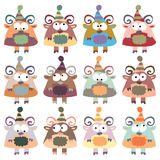 A set of multi-colored sheeps in retro style. Stock Image