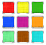 Set of multi-colored square buttons. Of linen texture with  metal fringing Royalty Free Stock Images
