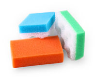 Set of multi-colored squire bath sponge isolated on white Stock Photography