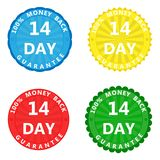 A set of colored stickers with the inscription 100 percent money. A set of multi-colored stickers with the inscription 100 percent money back guarantee 14 days stock illustration