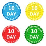 A set of multi-colored stickers with the inscription 100 percent. A set of colored stickers with the inscription 100 percent money back guarantee 10 days stock illustration