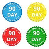 A set of multi-colored stickers with the inscription 100 percent. A set of colored stickers with the inscription 100 percent money back guarantee 90 days vector illustration