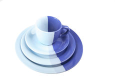 Set of multi-colored tea-things Stock Photos