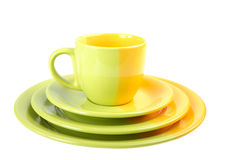Set of multi-colored tea-things Royalty Free Stock Photos