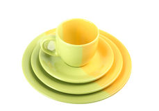 Set of multi-colored tea-things Royalty Free Stock Images