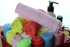 Set multi-colored towels Stock Images