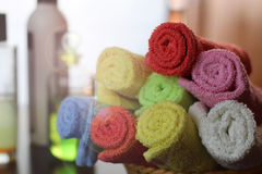Set of multi-colored towels Royalty Free Stock Photography