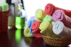 Set of multi-colored towels Royalty Free Stock Photos