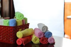 Set of multi-colored towels stock images