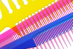 Set multi-coloured transparent combs Royalty Free Stock Photo