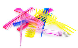 Set multi-coloured transparent combs Stock Photography