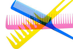 Set multi-coloured transparent combs Royalty Free Stock Images