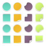 Set of multi-colours stickers with rounded corners in different shapes. Stock Photos