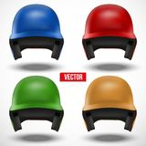 Set of multicolor Baseball helmets front view Royalty Free Stock Photography
